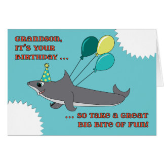 Grandson Big Shark Bite Happy Birthday Card