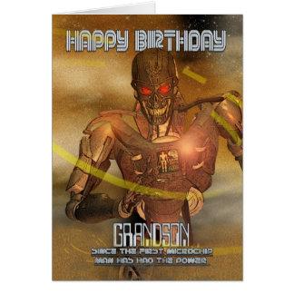 Grandson Birthday Card With Cyborg - Modern Robot