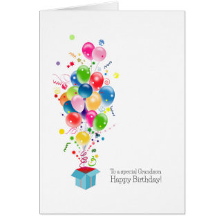 Grandson Birthday Cards Colourful Balloons