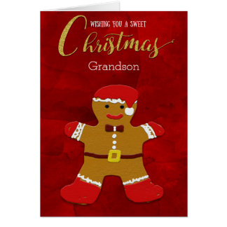 Grandson Christmas Gingerbread Man Santa Card