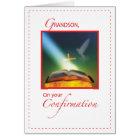 Grandson Confirmation Dove, Bible, Cross Card