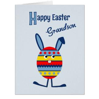 Grandson Easter egg bunny blue Big Greeting Card