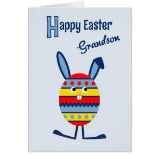 Grandson Easter egg bunny blue Greeting Card