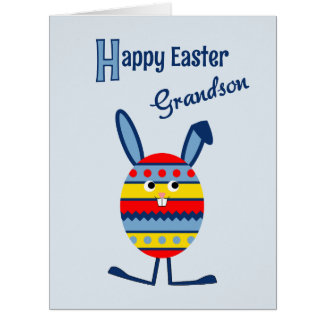 Grandson Easter egg bunny blue Big Greeting Card