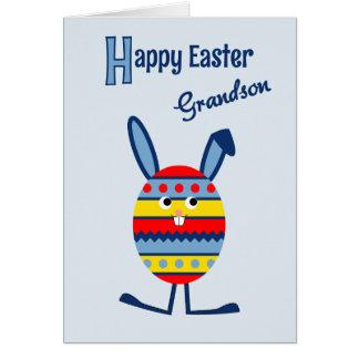 Grandson Easter egg bunny blue Greeting Card