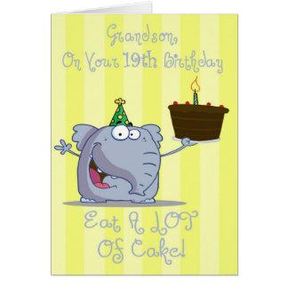 Grandson Eat More Cake 19th Birthday Card