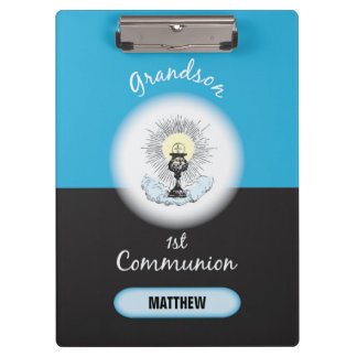 Grandson First Communion, Blue Cup Clipboard