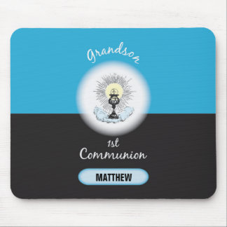 Grandson First Communion, Blue Cup Mouse Pad