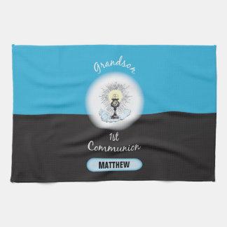 Grandson First Communion, Blue Cup Tea Towel