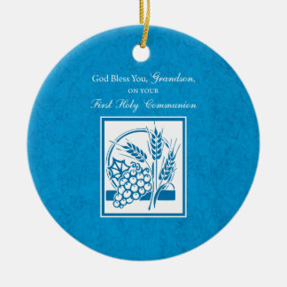 Grandson First Communion Blue, Wheat, Grapes Ceramic Ornament