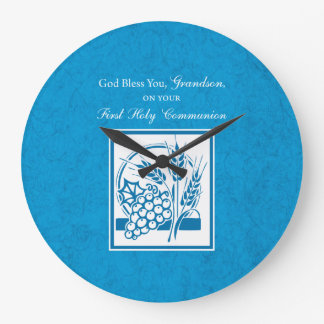 Grandson First Communion Blue, Wheat, Grapes Large Clock