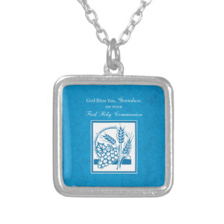 Grandson First Communion Blue, Wheat, Grapes Silver Plated Necklace