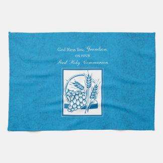 Grandson First Communion Blue, Wheat, Grapes Tea Towel