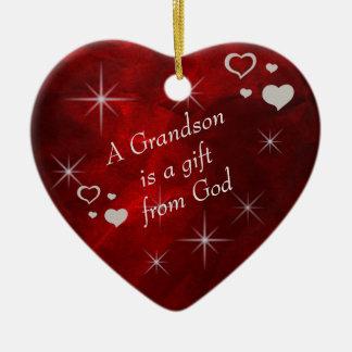 Grandson Gift Heart Keepsake Ceramic Ornament