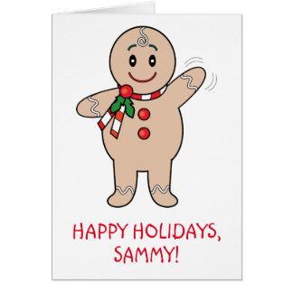 Grandson Gingerbread Boy Name Customizable Card