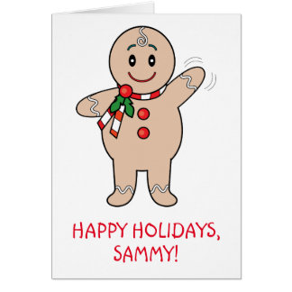 Grandson Gingerbread Boy Name Customizable Greeting Card