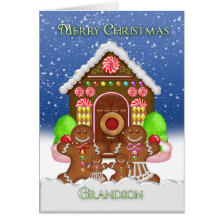Grandson Gingerbread House and Family Christmas Gr Card