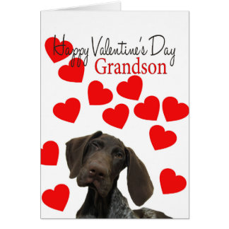 Grandson Glossy Grizzly Valentine Puppy Love Card