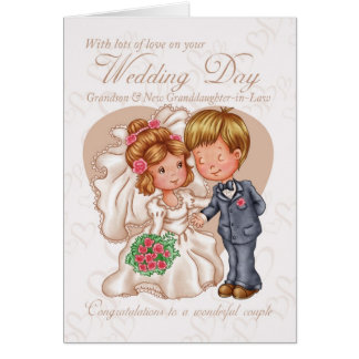 Grandson & New Granddaughter-in-Law Wedding Day Ca Greeting Card