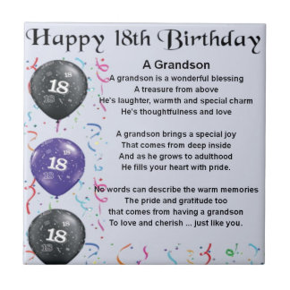 Grandson Poem - 18th Birthday Small Square Tile
