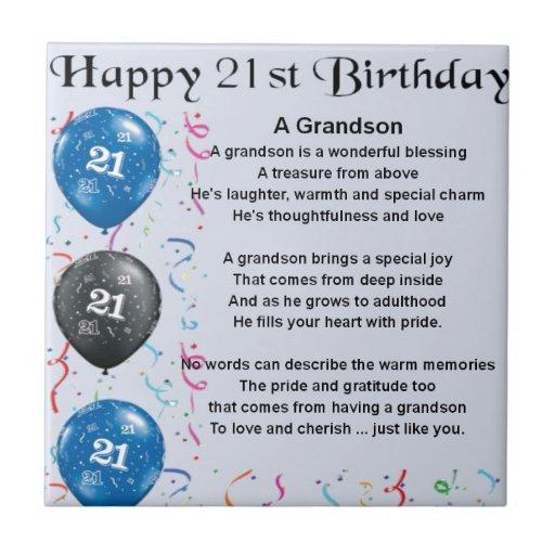 Grandson Poem - 21st Birthday Ceramic Tiles
