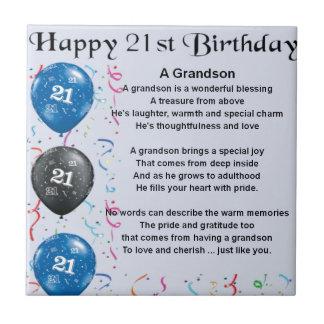 Grandson Poem  -  21st Birthday Small Square Tile