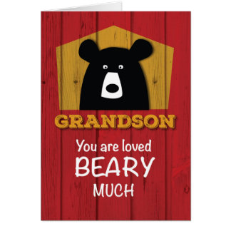 Grandson, Valentine Bear Wishes on Red Wood Grain Card