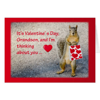 Grandson Valentine Squirrel Greeting Card