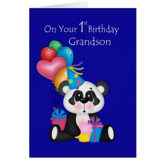 Grandson's 1st Birthday, Panda and Balloons Greeting Card