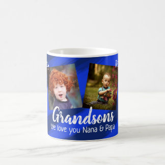 Grandsons Blue Stripes Four Photo Collage Mug