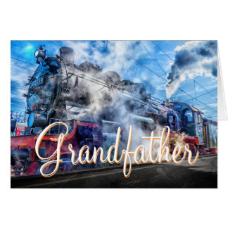 Granfather Steam Train Birthday card