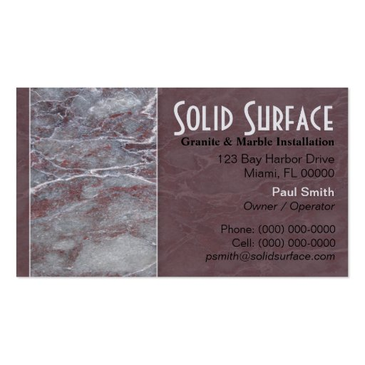 Granite and marble business card zazzle for Zazzle business card