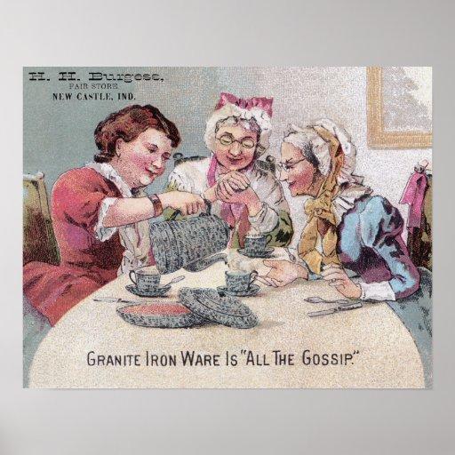 Granite Ironware Gossip Ad w Seller Posters
