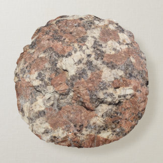 Granite Rock Texture --- Pink Black White - Round Cushion