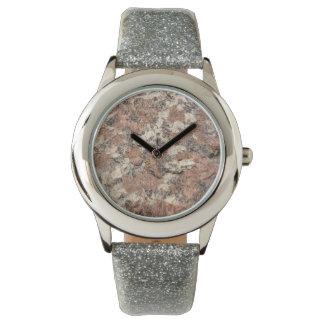 Granite Rock Texture --- Pink Black White - Watch