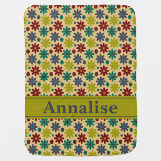 Granny Flowers and Polka Dots Personalized Baby Blanket