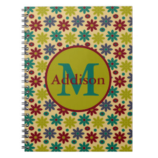 Granny Flowers Monogram Spiral Notebook