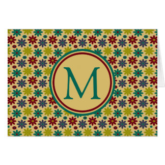 Granny Flowers on Khaki Monogram Card