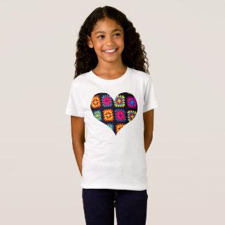 Granny Square T-shirt, Crochet Girls Heart T-shirt