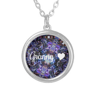 Granny With Heart Round Pendant Necklace