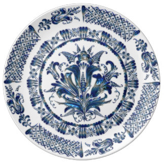 Granny's Blue Floral Vintage China in 3D Plate