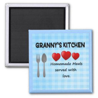 Granny's Kitchen Gingham Light Blue Magnet