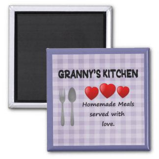 Granny's Kitchen Purple Gingham Magnet