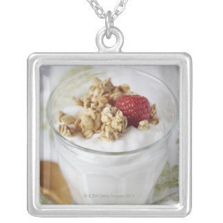 Granola, Oats, Toasted, Fruit, Berry, Raspberry, Silver Plated Necklace