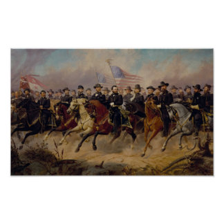 Grant and His Generals Painting Poster