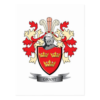 Grant Family Crest Coat of Arms Postcard