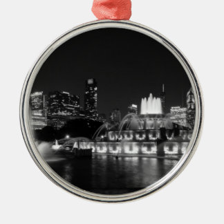 Grant Park Chicago Grayscale Silver-Colored Round Decoration