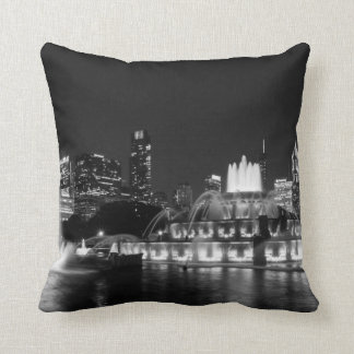 Grant Park Chicago Grayscale Throw Pillow