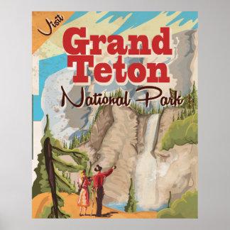 Grant Teton national park Vintage Travel Poster