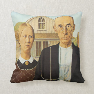Grant Wood AMERICAN GOTHIC 1930 Cushion